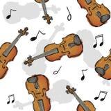 Violin Paint Seamless Pattern Art Design Stock Image