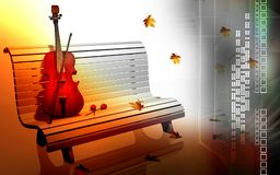 Violin in a park bench Stock Photo
