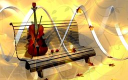 Violin in a park bench Stock Image