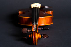 Violin part on black Stock Photo