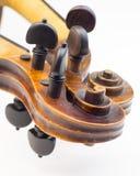 Violin peg boxes. Close up of violin peg boxes royalty free stock photos