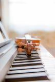 Violin on the piano Stock Image