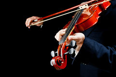 Violin played by the musician Royalty Free Stock Photos