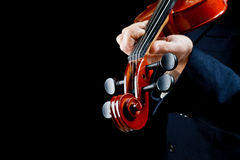 Violin played by the musician Royalty Free Stock Image