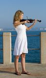 Violin player on beach Royalty Free Stock Photos