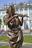 Violin player. Hermitage museum background. Stock Photos