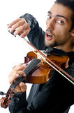 Violin player isolated Stock Images