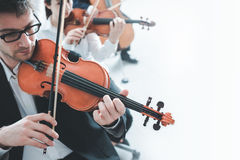Violin players performing. Professional violinists performing, male player on foreground, blank copy space on the right Royalty Free Stock Images