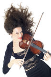 Violin playing beautiful woman violinist Stock Images
