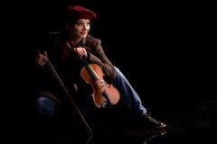 Violin playing girl Royalty Free Stock Photography