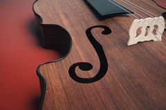 Violin on red background closeup. Close up of wooden violin on red background. Music concept. 3D Rendering Royalty Free Stock Photos