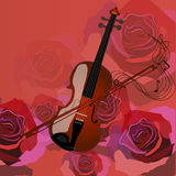 Violin on a red vector illustration