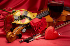 Violin, red rose and heart. Stock Images