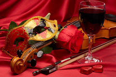 Violin, red rose and heart. Royalty Free Stock Photos