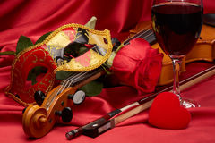 Violin, red rose and heart. Stock Photography