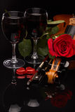 Violin, red rose and wine. Royalty Free Stock Photo