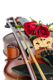 Violin and red roses. On white background Royalty Free Stock Photography