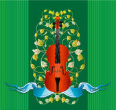 Violin ribbon. Violin at the background of leaves and strips Stock Images