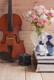 Violin and romantic doll Stock Images