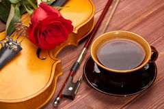 Violin, rose and coffee. Stock Photography