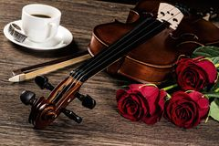 Violin, rose, coffee and music books Stock Image