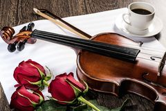 Violin, rose, glass of champagne and music books Stock Images