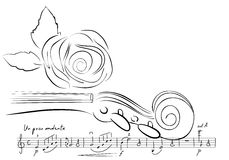 Violin and rose lines. vector. Musical background with copy space Stock Photography
