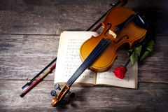 The violin and rose on musical notes Royalty Free Stock Photography