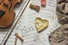 Violin and rose petals in a heart shaped cookiee cutter on music sheets with gypsophila flowers, above vantage point shooting stock photography