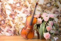 Violin and rose Royalty Free Stock Photo