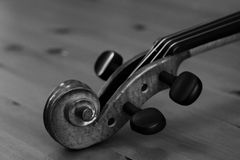 Violin's Head in blakc and white Stock Photo
