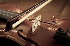 Violin in sepia color. Stock Photography