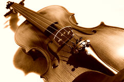 Violin in sepia. Sepia color violin on the ground Stock Photography
