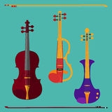 Violin set. Set of different violins. Classical violin, electric violin with bows.  musical instruments on teal background. Vector illustration in flat style Stock Image