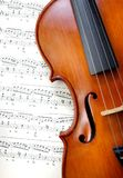 Violin on sheet music. close up. top view. Royalty Free Stock Photo