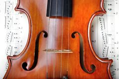 Violin on sheet music. close up. top view. Royalty Free Stock Image