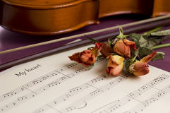 Violin, sheet music and dried roses Stock Photo