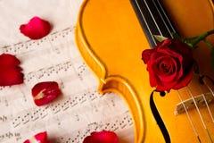 Violin sheet music and rose Royalty Free Stock Photo