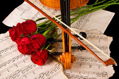 Violin sheet music and rose closeup wood Stock Photography