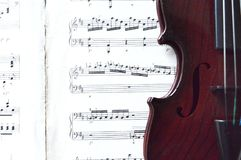 Violin and sheet music stock image