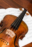 Violin with sheets music Stock Photo