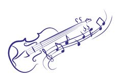 Violin. A violin sketch with notes Royalty Free Stock Photography
