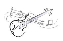 Violin. A violin sketch with notes Royalty Free Stock Photo