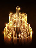 Violin with Sparks. Violin silhouette made from music notes on background with glowing sparks Royalty Free Stock Image