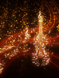 Violin with Sparks. Violin silhouette made from music notes on background with glowing sparks Stock Image