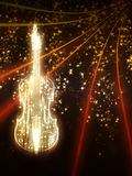 Violin with Sparks. Violin silhouette made from music notes on background with glowing sparks Royalty Free Stock Photos