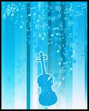 Violin  and stars flayer. Retro style violin with stars and musical notes on blue background Royalty Free Stock Images
