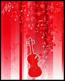Violin  and stars flayer. Retro style violin with stars and musical notes on red background Royalty Free Stock Photos