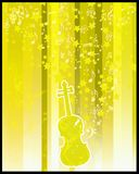 Violin  and stars flayer. Retro style violin with stars and musical notes on  yellow  background Royalty Free Stock Photography