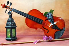Violin. A still life of a lantern and a violin, grapes and flowers, selective focus Royalty Free Stock Images
